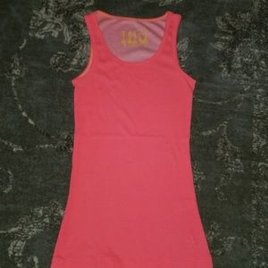Pacsun Lilu Neon Coral Pink Ribbed Tank Top Gym S